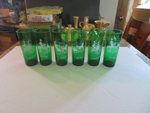 6-Forest Green Iced Tea Glasses w/White Designs-SO CUTE.