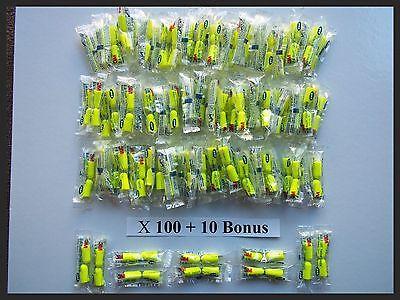 Earplugs 100 10 Bonus Pair 3m Yellow Neon Soft Foam Individually Wrapped 33db