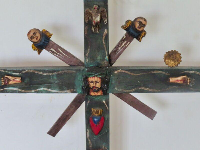 wood folk art cross from Ecuador