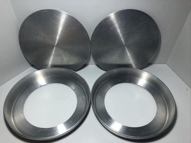 "2 VTG Round Cake Pans Removable Bottoms 9"" x 1½ "" Aluminum USA made - VGUC"