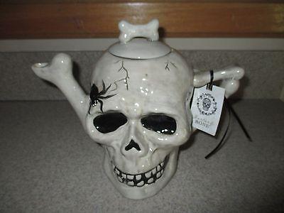 NWT BLUE SKY Large Full Size Skull/Skeleton Creepy Teapot, Halloween-Nice, HTF!