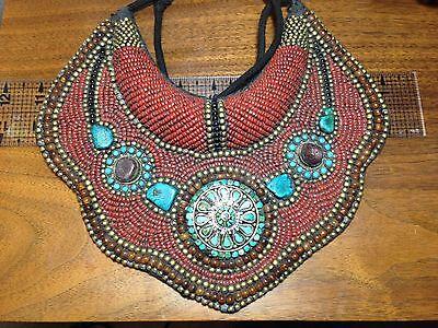 VINTAGE ESTATE FIND! Tibet TRIBAL Bib Collar NECKLACE Beads CORAL TURQUOISE