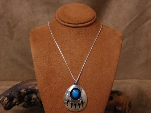 Sterling Silver Turquoise Bear Paw Necklace