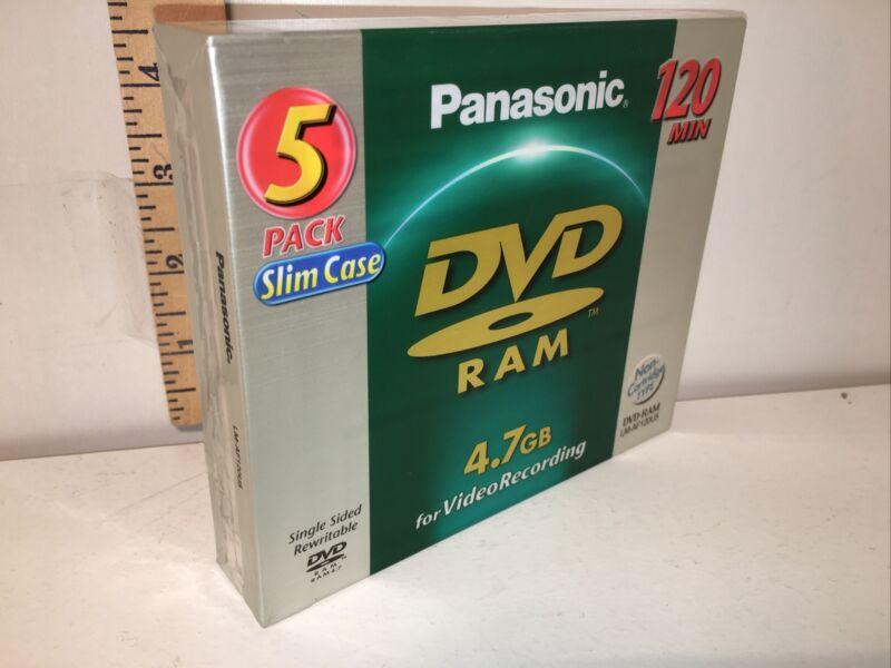 Panasonic DVD RAM 4.7 GB Discs 120 Min Brand New & Sealed 5-Pack Video Recording