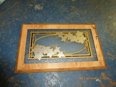 RV Camper Frosted Etched Glass Cabinet Door Leaves Gold Tone 24x14