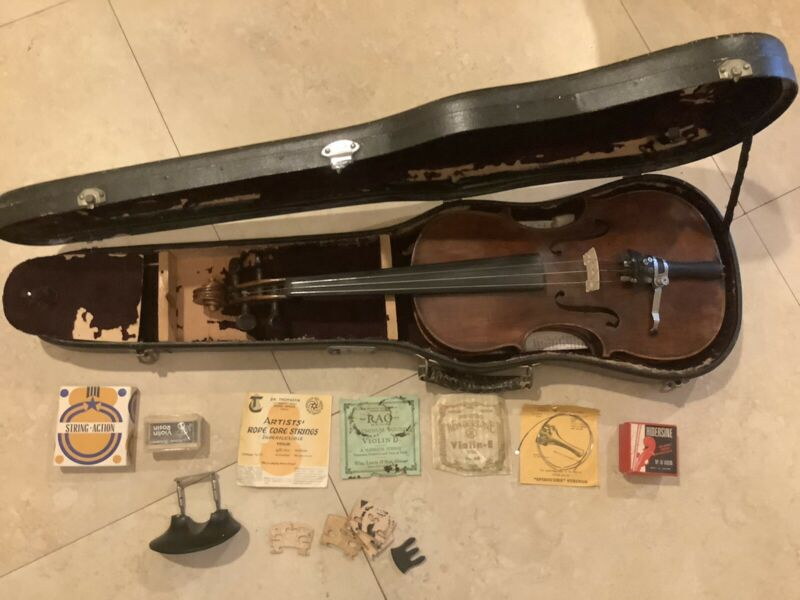 Old HOPF VIOLIN Full-Size 4/4, Case & Accessories Antique Vintage