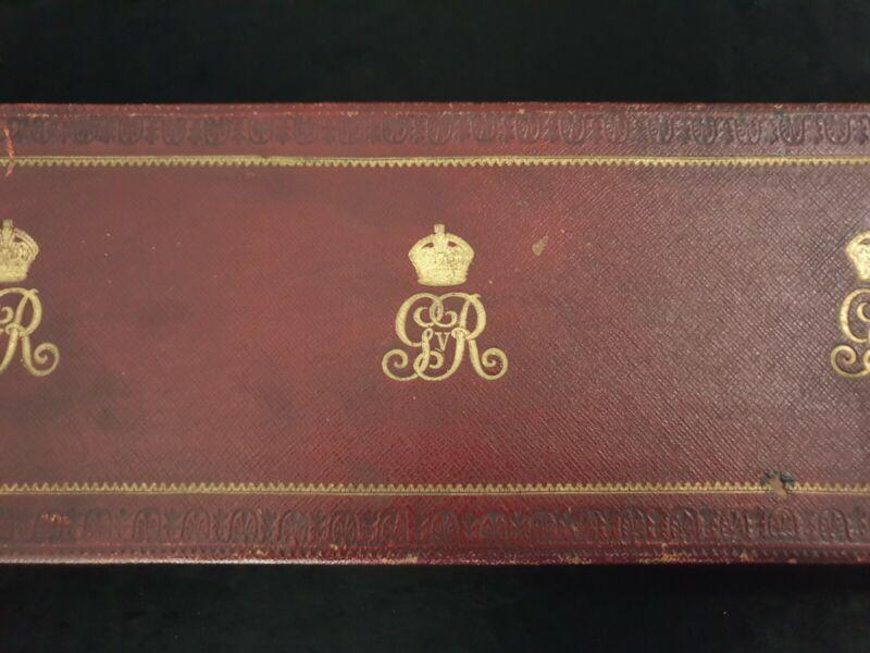 Rare Antique Royalty King George V Royal Presentation Box Document Brass Leather