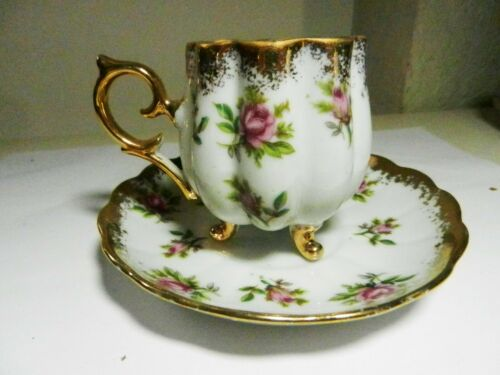 Original Napco China PINK ROSES Demitasse 3 Footed Cup & Saucer SD 153-Gilded