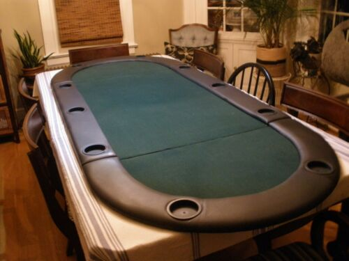 """Green 10 Player Poker Table Top  84"""" x 35.5"""""""