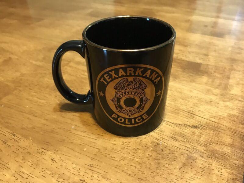 Texarkana Arkansas Police Coffee / Tea Mug - Black With Gold TAPD OFFICER badge