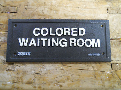 Cast Iron SIGN COLORED WAITING ROOM Black AMERICANA 1937 BUS STOP PLAQUE