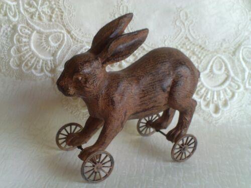 "Primitive Bunny Rabbit On Wheels Resin 5.5"" x 6.5"" Rustic Antique Look NEW"