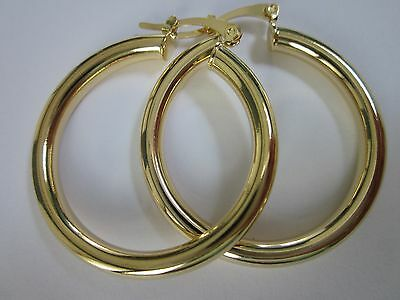 14 karat gold plated 35mm wide thick lightweight hoop earring sale