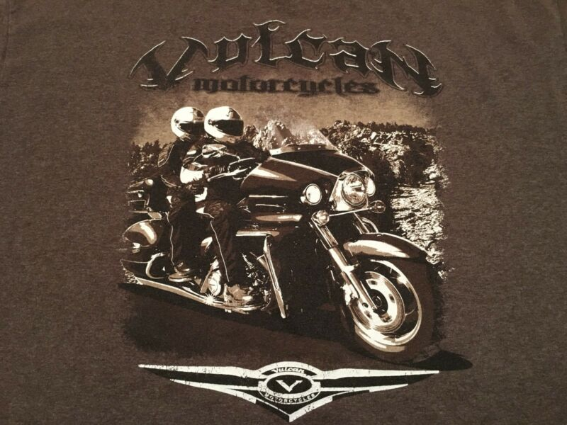 Official Kawasaki Vulcan Motorcycle Banded T-Shirt Heathered Brown SZ XL EUC