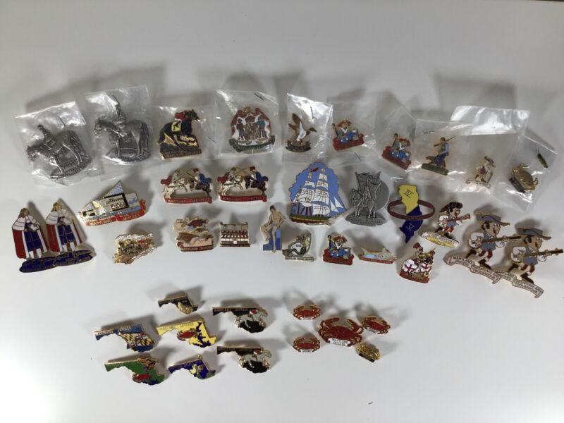 Lot Of 58 Vintage & Rare Maryland Jaycees Enamel & Pewter Lapel Pins