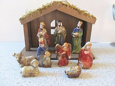 Smaller Porcelain Nativity Set with Creche Stable