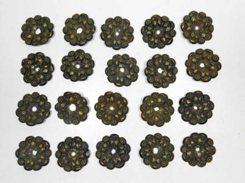 20 Matching Antique Decorative Medallions in Wrought Brass Early 1800