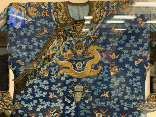 A Rare Qing Dynasty Embroidered Silk Dragon Robe, Framed. Early 19th C.