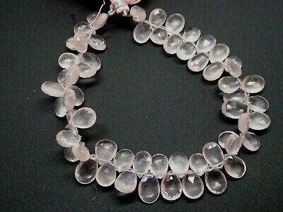 Natural Rose Quartz Pink Faceted Pear Shape Briolette Gemstone Beads 8