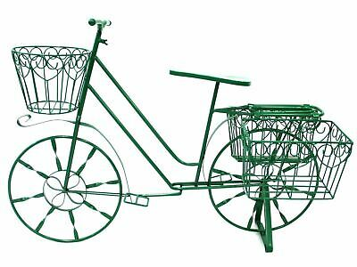 Large Metal Garden Bicycle Planter - Bike Planter With Removable Pots