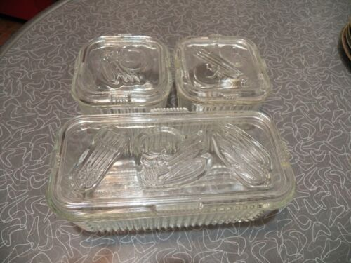 VINTAGE SET FEDERAL CLEAR GLASS REFRIGERATOR COVERED DISHES FRUIT VEGETABLES