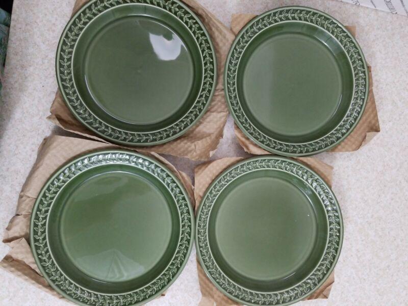 "SET Of~~4~~Plates 8.5"" FOREST GREEN NEW Portmeirion Botanic Garden Harmony"