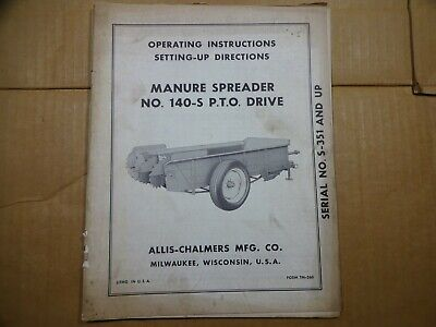 Allis Chalmers 140-s Manure Spreader Pto Drive Operators Manual Serial S-351 Up