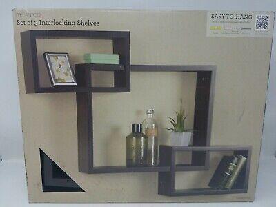 Melannco Interlocking Shelves (Espresso, Set of
