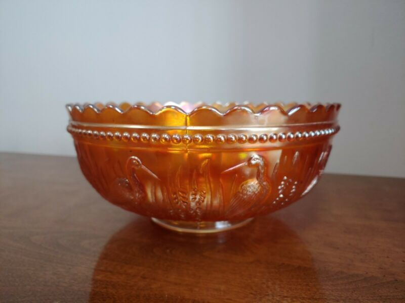 DUGAN BEADED STORK & RUSHES BEADED PUNCH BOWL - STUNNING MARIGOLD