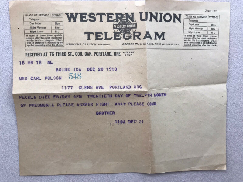 1918 Vintage Western Union Telegram Ephemera  Death Notice Boise To Portland, OR