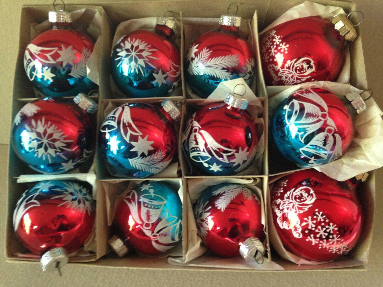 12 x alt Weihnachtskugel Christbaumkugel  Tannenbaumkugeln DDR Lauscha Vintage