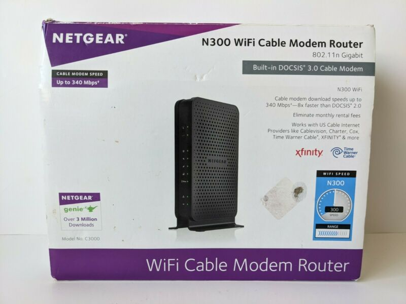 NETGEAR C3000 N300 Built - in DOCSIS 3.0 WiFi Cable Modem Router - Open Box
