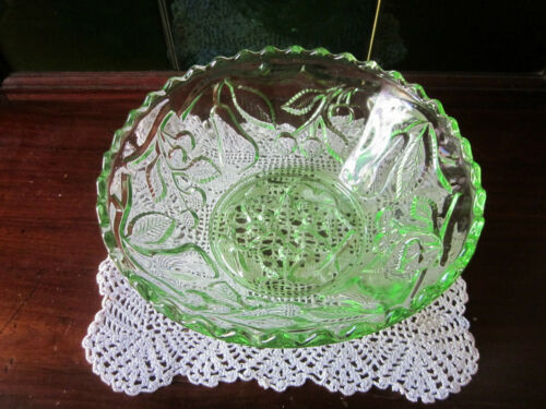 CROWN CRYSTAL PEAR & CHERRIES GREEN DEPRESSION GLASS BOWL