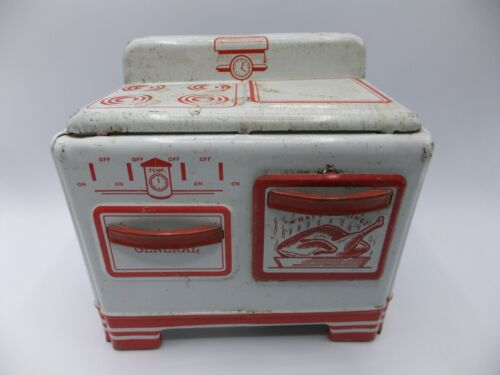 General Metal Toys Miniature Tin Oven Stove White & Red Canada 1950s Vtg
