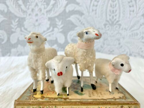 Sweet Antique Miniature Putz German Sheep Set of 4