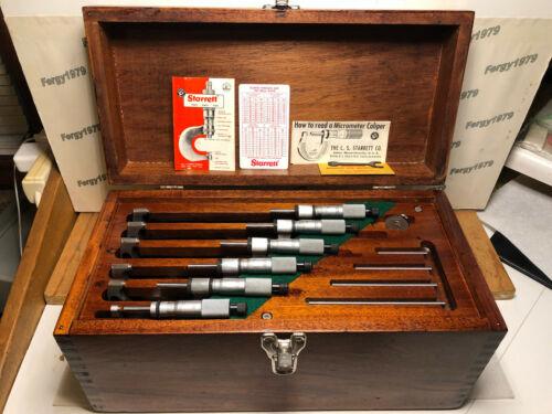 """Starrett T226 XRL 0-6"""" Micrometers, Carbide, .0001,  Standards, B&S Mahogany Box"""