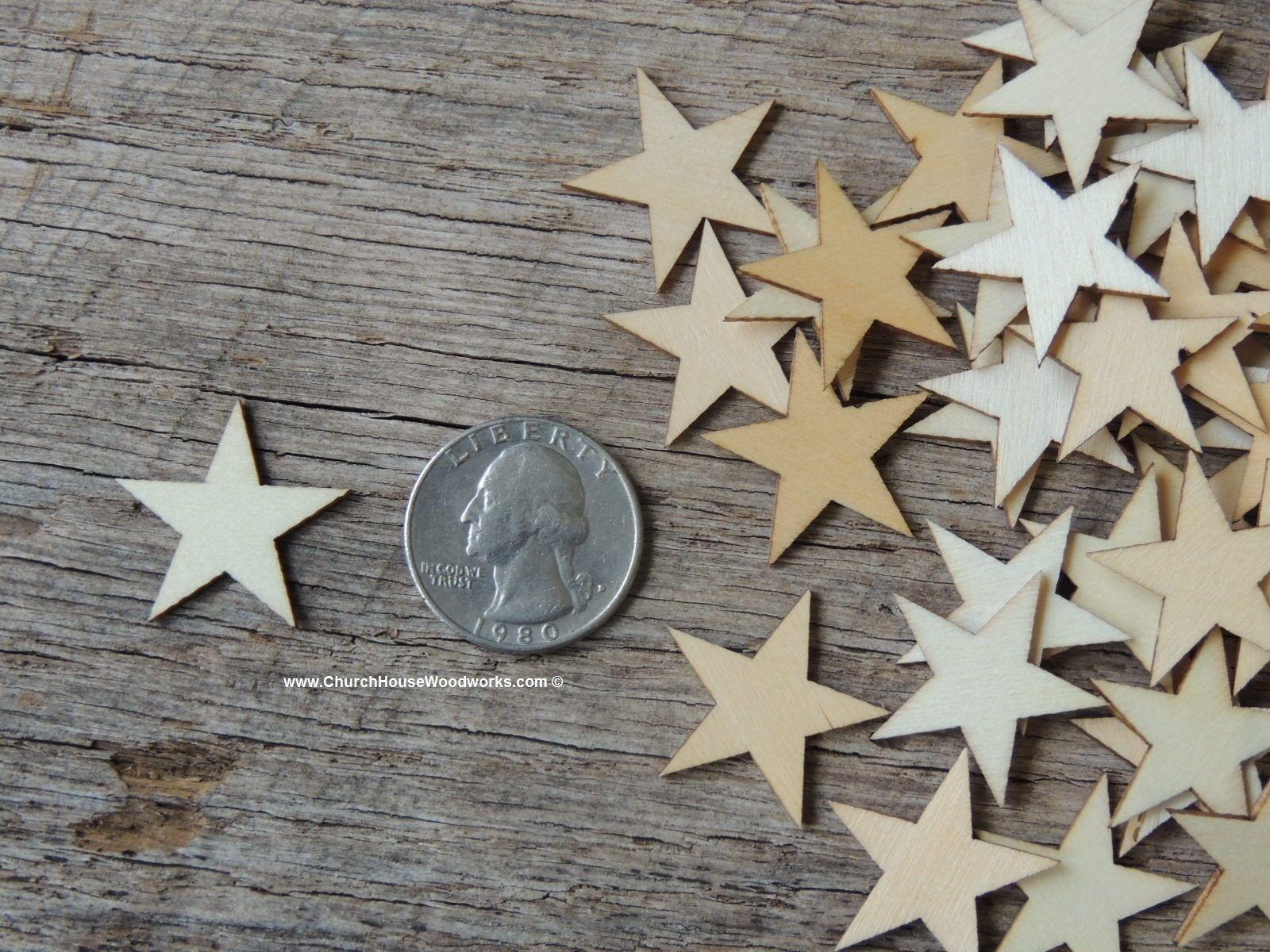 50 qty Small 1 inch Star Wood Embellishments Crafts Flag Woo
