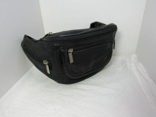 WILSON LEATHER Black Fanny Pack Waist Travel Bag Adjustable 5 Pocket