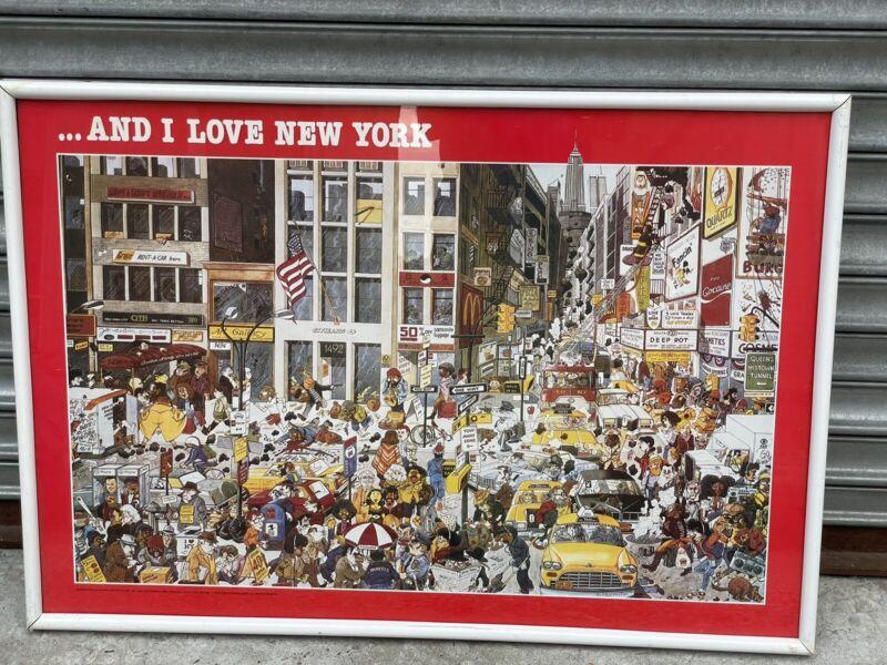 ...AND I LOVE NEW YORK MICHEL KICHKA 1982 FULL SIZE ORIGINAL POSTER FRAMED