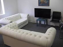 White leather Chesterfield House-made (in Aust.) sofas - two only Clayfield Brisbane North East Preview