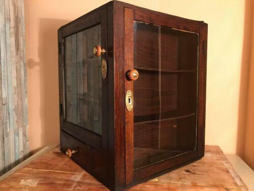 Antique Оак Pharmacy Corner Cabinet