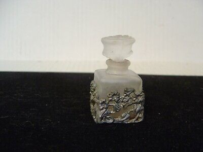 VINTAGE SMALL SQUARE FROSTED GLASS PERFUME BOTTLE ENCASED IN METAL FLORAL DESIGN