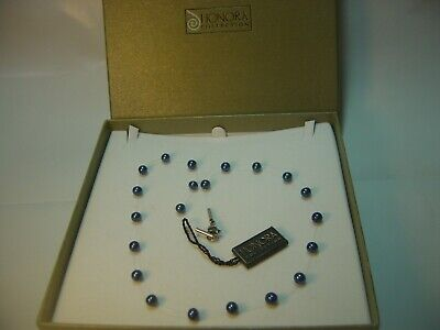 """SUPERB-18"""" QUALITY """"HONORA """" GENUINE PETROL BLUE PEARLS NECKLACE STAINLESS STEEL"""