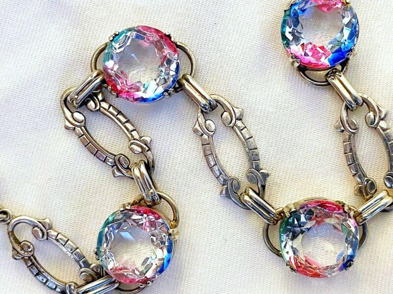 Vintage Antique Art Deco Iris Glass Crystal Sterling Open Back Bezel Bracelet