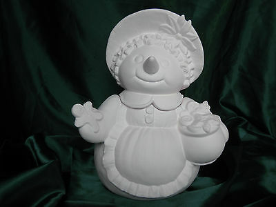Ceramic Bisque Snowman's Lady with Gingerbread Cookie Jar Inside Glazed