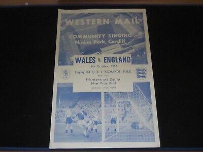 1957 INTERNATIONAL WALES v ENGLAND COMMUNITY SONG SHEET