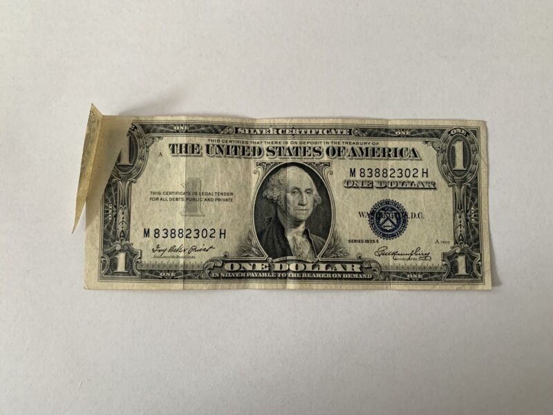 1935 E $1 FOLD OVER MAJOR ERROR ONE DOLLAR SILVER CERTIFICATE BLUE SEAL