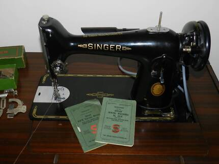 Antique Singer Sewing Machine + 201K Accesories and Seat