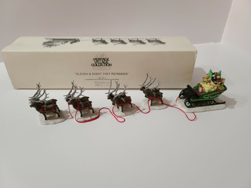 Department 56 Heritage Village Collection Sleigh and 8 Tiny Reindeer Free Ship