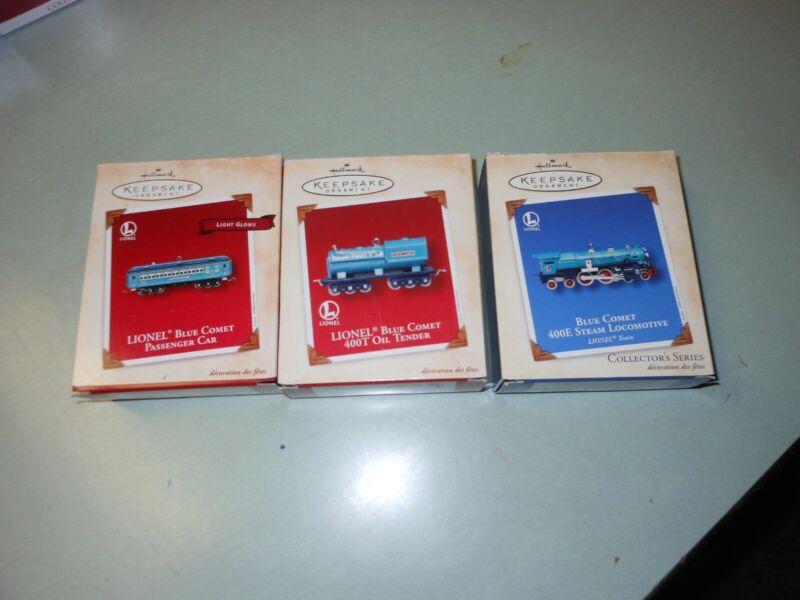 Hallmark ornament Lionel Blue Comet Passenger Car, Tender, and Engine